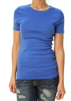 J. Crew Women's Short Sleeve Crew Neck Basic T-Shirt Blue