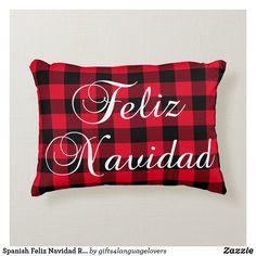 Spanish Feliz Navidad Red Buffalo Plaid Accent Pillow