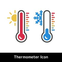 Flat Thermometer Icon For Hot And Cold Temperature Symbols Vector and PNG