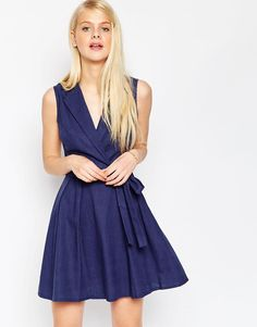 ASOS | ASOS Sleeveless Linen Mini Shirt Dress With Belt at ASOS