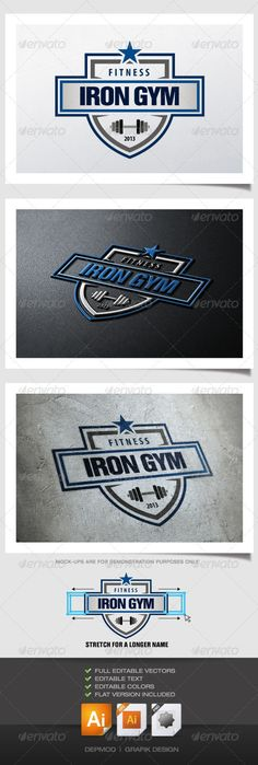 Logo of a shield crest for a gym and fitness. Can be used for many kind of project. Full vectors, this logo can be easily resize and colors can be changed to fit your colors project. Flat version for print also included. Can be resize to the left and right to fit with your name. 3 different text zone included. The font used is in a download file in the package. #fitness #gym #logo