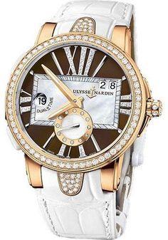 Ulysse Nardin - Executive Lady Rose Gold - Diamond Bezel - Leather Strap Watch 246-10B/30-05