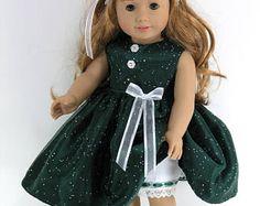 Handmade Doll Clothes for 18 inch American Girl - Dress, Pantalettes, Headband - Green Sparkle Organza, Taffeta - Shoes Option