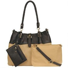 Black Rivet Carry All Faux-Leather Tote