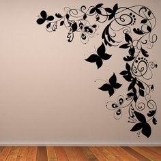 wall art | ... Butterfly Floral Decorative Corner Wall Art Sticker Wall Art Transfers