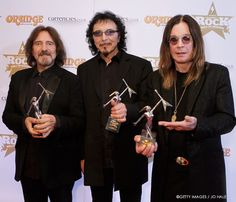 """Black Sabbath on Facebook (15-Jan-2014): """"Geezer Butler, Tony Iommi, and Ozzy Osbourne collect their statues at the Classic Rock Awards. The winnings? Album of the Year, Event of the year, and LIVING LEGENDS."""""""