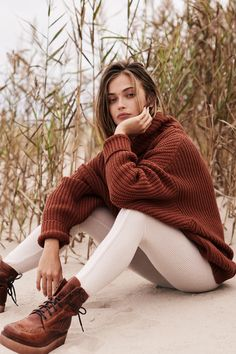Swim Too Deep Pullover | **Fit:** Runs large, we recommend sizing down. Oversized turtleneck sweater featured in a comfy chunky knit. * Boxy silhouette