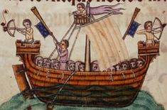 Medieval Crossbows --- Crossbowman on board ship, Luttrell Psalter, 1325-35, British Library, England