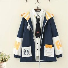 Get this Kawaii Japanese Letter Print Hooded Coat Sweatshirt. This cute blue and yellow loose sweater jacket for women is perfect for cold and rainy seasons. Cute Fashion, Girl Fashion, Fashion Outfits, Fashion Design, Fashion Styles, Cosplay Outfits, Anime Outfits, Cute Casual Outfits, Pretty Outfits