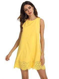 2a8ac57b3 ROMWE Women s Summer Sundress Scalloped Hem Sleeveless Casual A Line Dress