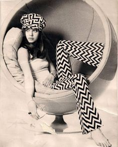 mojofilter66: Postcards from the 60s - Girl in chair / black and white / chevron pants and cap