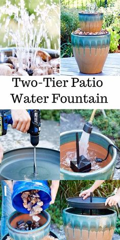 Make a DIY water feature in the two tiers. It will make your patio attractive an… Make a DIY water feature in the two tiers. It will make your patio attractive and elegant. To create this project, take to big… Continue Reading → Patio Water Fountain, Diy Garden Fountains, Diy Fountain, Outdoor Water Fountains, Water Fountain Design, Wall Fountains, Rock Fountain, Indoor Fountain, Diy Water Feature