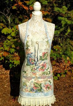 Upcycled Apron with vintage linens & lace, Shabby Chic Upcycled, Shabby Chic Apron, Cottage style apron by thevintagenightowls on Etsy. $39.95