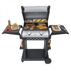 BBQ grill Öntöttvas grill-lap  Dupla termosztát Extra nagy méret Low-fat technológia Max. 300°C Grillkocsival