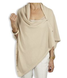 f299a8c2a Buttoned Cashmere Poncho - Ivory by Catherine Robinson  www.catherinerobinsoncashmere.com