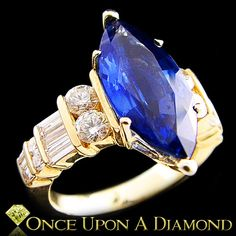 Certified 14K Yellow Gold 6.06ctw Marquise Blue Sapphire & Diamond Cocktail Ring