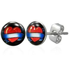 Heart Banner Tattoo Design Mens Stud Earrings In Stainless Steel Urban Male, Heart Banner, Designer Earrings, Tattoo Designs, Cufflinks, Valentines, Stud Earrings, Stainless Steel, Tattoos
