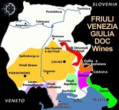 Map of The Friuli wine region of Italy