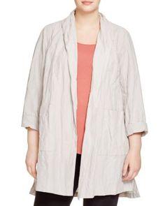 Eileen Fisher Plus Crinkled Kimono Coat | Bloomingdale's