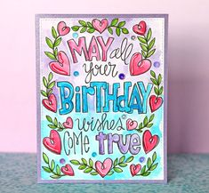 These watercolor coloring sheets are great fro one layered cards! Love the detail! Happy Birthday Doodles, Happy Birthday Cards Handmade, Cool Birthday Cards, Fun Crafts To Do, Creative Lettering, Handmade Tags, Birthday Greetings, Birthday Wishes, Watercolor Cards