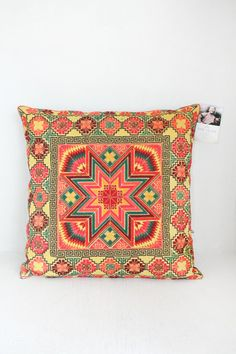 Colourful Cross-Stitch Cushion Cover HMONG Hill Tribe Thailand FAIR Trade Handmade  (CS015-Y)