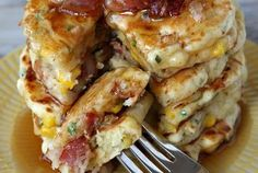 Bacon and Corn Griddle Cakes w/bourbon maple syrup YUM!