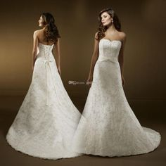 Wholesale Bride Wedding Dress - Buy The Best Selling Adoration A Line Sweetheart Wedding Dresses Sweep Brush Rhinestone Lace Standard Code Bridal Gowns Ed1806, $159.9 | DHgate