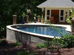 Above ground pool on sloped yard google search for Pool design for sloped yard