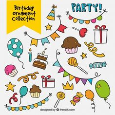 Discover thousands of copyright-free vectors. Graphic resources for personal and commercial use. Thousands of new files uploaded daily. Creative Birthday Cards, Handmade Birthday Cards, Birthday Greeting Cards, Celebration Background, Birthday Card Template, Kawaii Doodles, Custom Fonts, Doodle Drawings, Bullet Journal Inspiration