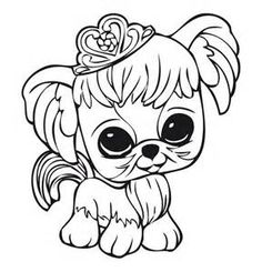 littlest pet shop dog with crown coloring pages for kids printable littlest pet shop coloring pages for kids
