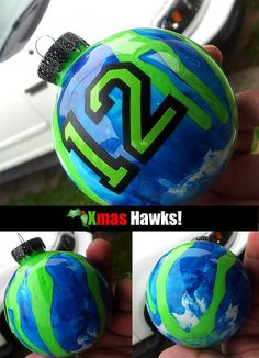 Hand painted Seattle Seahawks Christmas ornaments - Customizable on Etsy, $15.00-- this is my friend, his work is awesome! I had him make me the 4 legion of boom players for a Xmas present. They were so awesome!