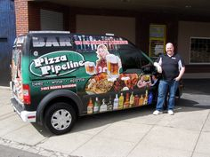 The Bar at Pizza Pipeline - Owner with his brand new vehicle wrap - Design / Print / Install by Cassel Promotions & Signs.