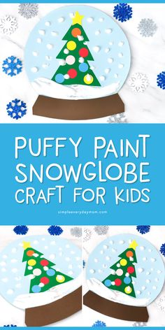 Winter Craft For Kids Make this easy puffy paint snowglobe Its a great winter art project for toddlers preschoolers kindergarten children and Preschool Art Projects, Preschool Christmas Crafts, Christmas Art Projects, Christmas Arts And Crafts, Winter Art Projects, Toddler Art Projects, Daycare Crafts, Winter Crafts For Kids, Kids Christmas