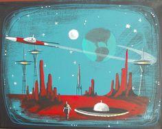 EL GATO GOMEZ PAINTING RETRO 1960S MARS MARTIAN SPACE SHIP ROCKET SCI-FI ROBOT #Modernism