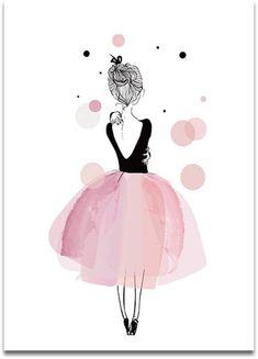 Girly Drawings, Art Drawings Sketches, Easy Drawings, Cute Canvas Paintings, Canvas Art, Art Mural Fashion, Molduras Vintage, Buch Design, Kids Room Art
