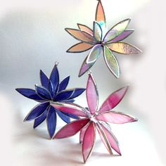 3D Stained Glass Suncatcher - In Full Bloom - Purple Swirl Iridescent ...