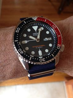 My own SKX009 with blue Nato strap. Photo: Charles Contant.