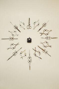 Scissor clock in hair salon