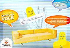 Promoção sorteio Sofá Design em facebook.com/vargasconstrutora