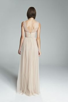 CYNTHIA. V-neck tulle illusion bridesmaids dress with lace bodice and tulle skirt shown in Fawn. Available in 7 colors.
