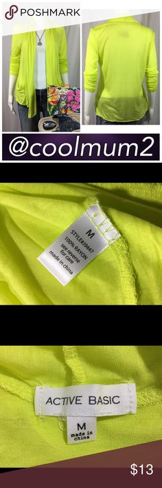 """Spring/Summer Cardigan Active Basic Spring/Summer Cardigan Size: M 100% Rayon Bust: 19"""" (armpit to armpit) Length: Front 30""""               Back 23"""" Lightweight Very Soft Long Sleeve Chartreuse Active Basic Sweaters Cardigans"""