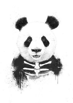 Marvelous Zombie Panda By Balazs Solti Canvas Print