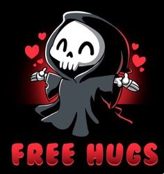 🤗 Get the black Free Hugs t-shirt only at TeeTurtle! Exclusive graphic designs on super soft cotton tees. Cute Cartoon Drawings, Cute Animal Drawings, Cartoon Art, Grim Reaper Art, Cute Animal Quotes, Free Hugs, Skeleton Art, Arte Obscura, Cute Messages