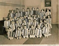 This picture looks to be vintage 1950s. I started playing the accordion in 1955 at the age of 7 and soon belonged to more than one accordion band. This is a real blast from the past for me.