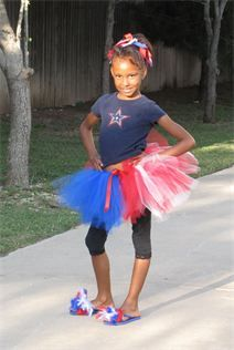 Fourth of July tutu with 7 red stripes, 6 white stripes and a section of blue to represent the American flag!