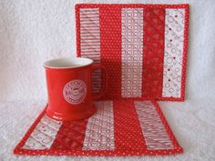 Quilted Mug Rugs Red and White Geometrics Contemporary Fabric Set of Two Mug Mats. $14.50, via Etsy.