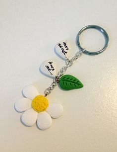 Loves me, loves me not... keychain polymer clay