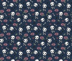 Colorful fabrics digitally printed by Spoonflower - Little roses and bones skulls for girls halloween day of the dead skeleton garden pink mint navy blue night Badass Wallpaper Iphone, Goth Wallpaper, Halloween Wallpaper Iphone, Cellphone Wallpaper, Fabric Wallpaper, Mobile Wallpaper, Pattern Wallpaper, Wallpaper Backgrounds, Cute Skeleton