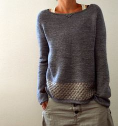 the drape of the fabric you get when working with this gorgeous yarn is made in heaven…that's why I decided to keep the design itself rather simple and straight forward boaty neckline raglan yoke over long sleeves and a lovely, simple-to-knit slip-stitch pattern for the body
