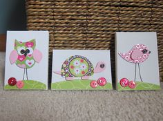 Children's Room Canvas Art MINIS, Nursery decor,  set of 3, 2.5 x 3.5 inch, bird, owl, turtle, cute as a button, pink and lime green on Etsy, $20.47 AUD